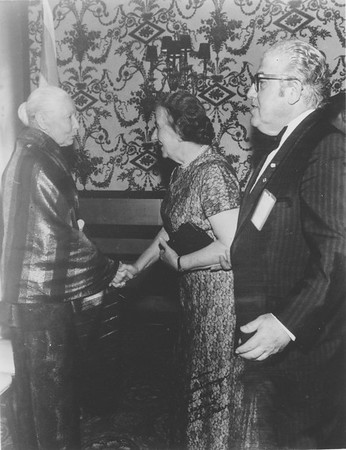 Marta Feuchtwanger with Meir, Foreign Minister of Israel, 1960