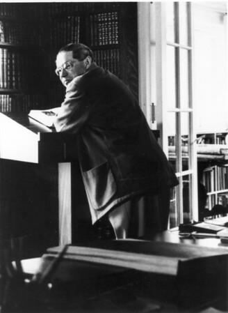 Feuchtwanger at a podium in his study, Pacific Palisades, Calif.