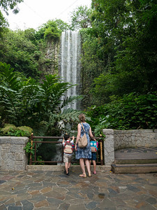Admiring the world's first man-made waterfall