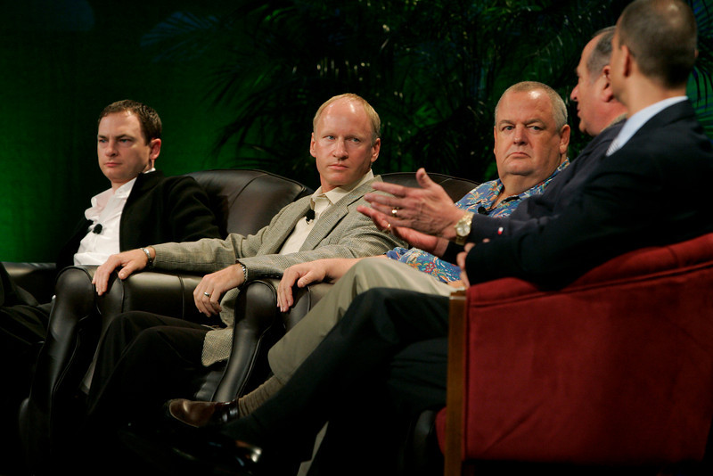 """FiReStarters I"": [L-R] Mark Turrell, CEO, Imaginatik; Tim Johnson, CEO, High Throughput Genomics; Bill Spencer, CEO, Hawaii Oceanic Technology; Mike Gering, President, Global Solar Energy; and Roy Schoenberg, CEO, American Well Systems"