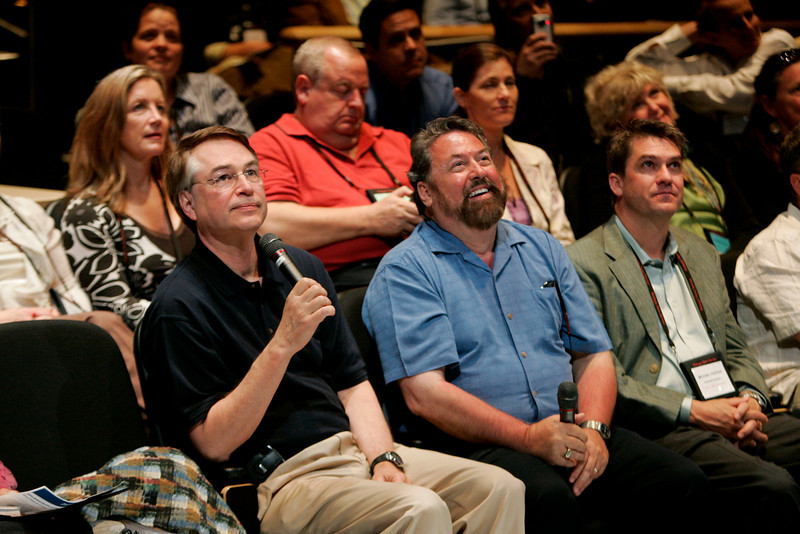 Calit2, UCSD: OptiPortal Australia talks in realtime with FiRe participants in the Calit2 auditorium: [foreground, L-R] host and director Larry Smarr, SNS CEO Mark Anderson, and Michael Pfeffer, Managing Partner, Kolohala Ventures