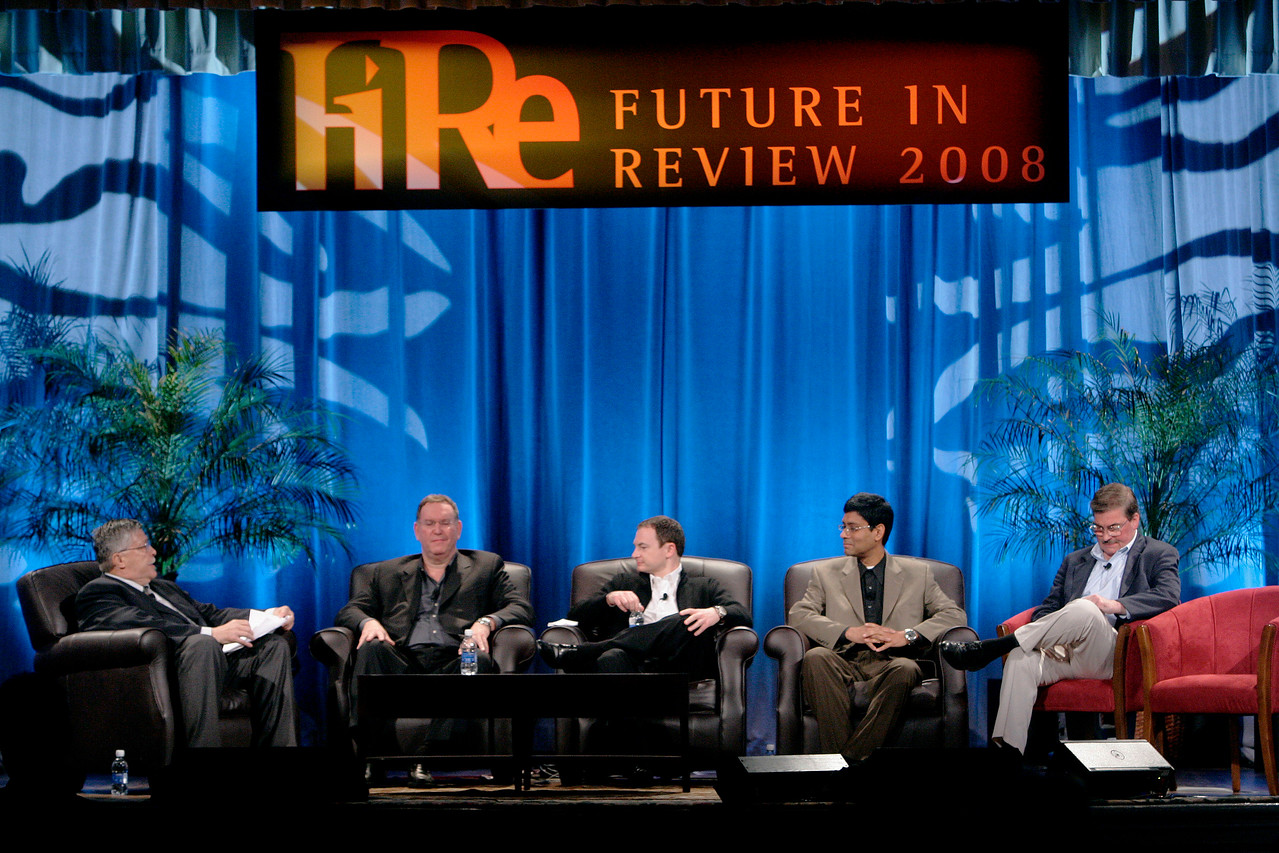 """Collaborative (Green) Innovation"": [L-R] Moderator Robert Anderson, Director, Technology Transfer and IP, Illinois Institute of Technology; Mark Atkins, Chair, President, and CEO, Invention Machine Corp.; Mark Turrell, CEO, Imaginatik; Prith Banerjee, Senior VP, Research, and Director, HP Labs, Hewlett-Packard; and Steve Di Biase, Senior VP and Chief Scientific Officer, JohnsonDiversey Inc."