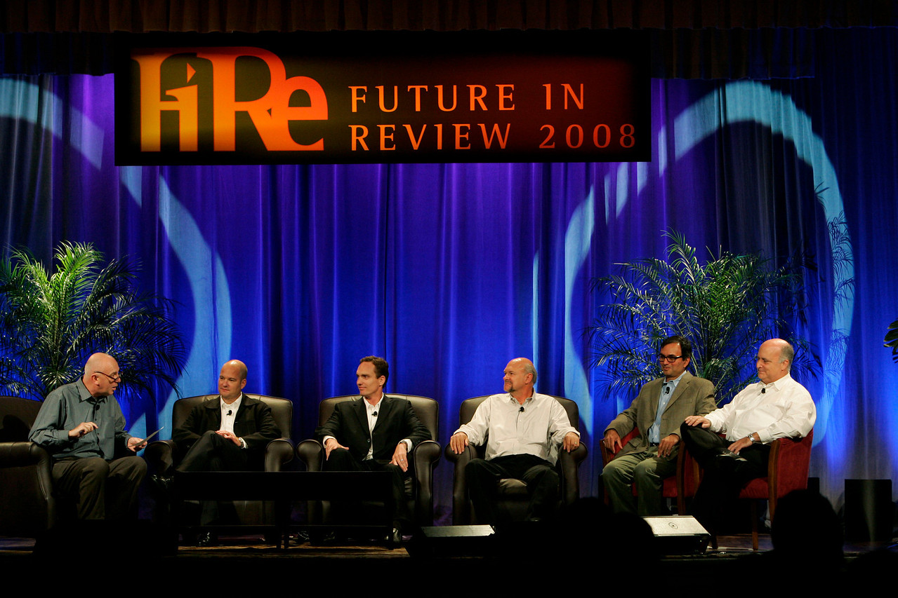 """FiReStarters II"": [L-R] Moderator Steve Evans, BBC World Service; Dave Grannan, President and CEO, vlingo; John Bower, CEO, uBoost; Michael Rocke, VP of Business Development, Transonic Combustion Inc.; Nitash Balsara, Co-Founder and Scientific Chair, Seeo Inc.; and Hank Coleman, CEO, OpenLabs"