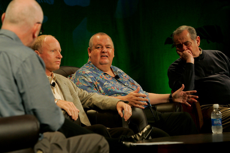"""FiReStarters I"": [L-R] Moderator Steve Evans, BBC Worldwide Service; and FiReStarters Tim Johnson, CEO, High Throughput Genomics; Bill Spencer, CEO, Hawaii Oceanic Technology; and Mike Gering, President, Global Solar Energy"