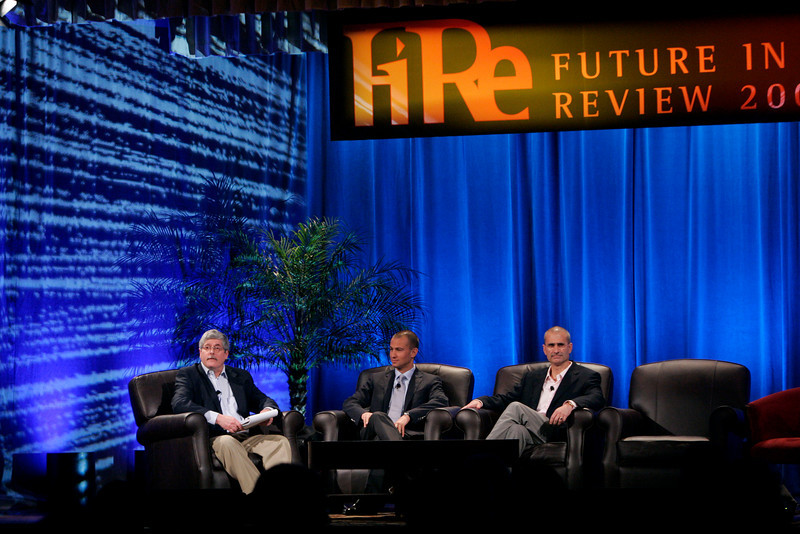 """""""Fixing Healthcare II: [L-R] Moderator Doug Smith, Chief Information and Quality Officer, Martin's Point Heath Care, with panelists Roy Schoenberg, CEO, American Well Systems, and Peter Neupert, Corporate VP, Health Solutions Group, Microsoft"""