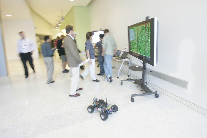 """Mingling with the bots: roving Gizmo Wi-Fi robots at Calit2 (the """"FiRe Lab""""), UCSD"""