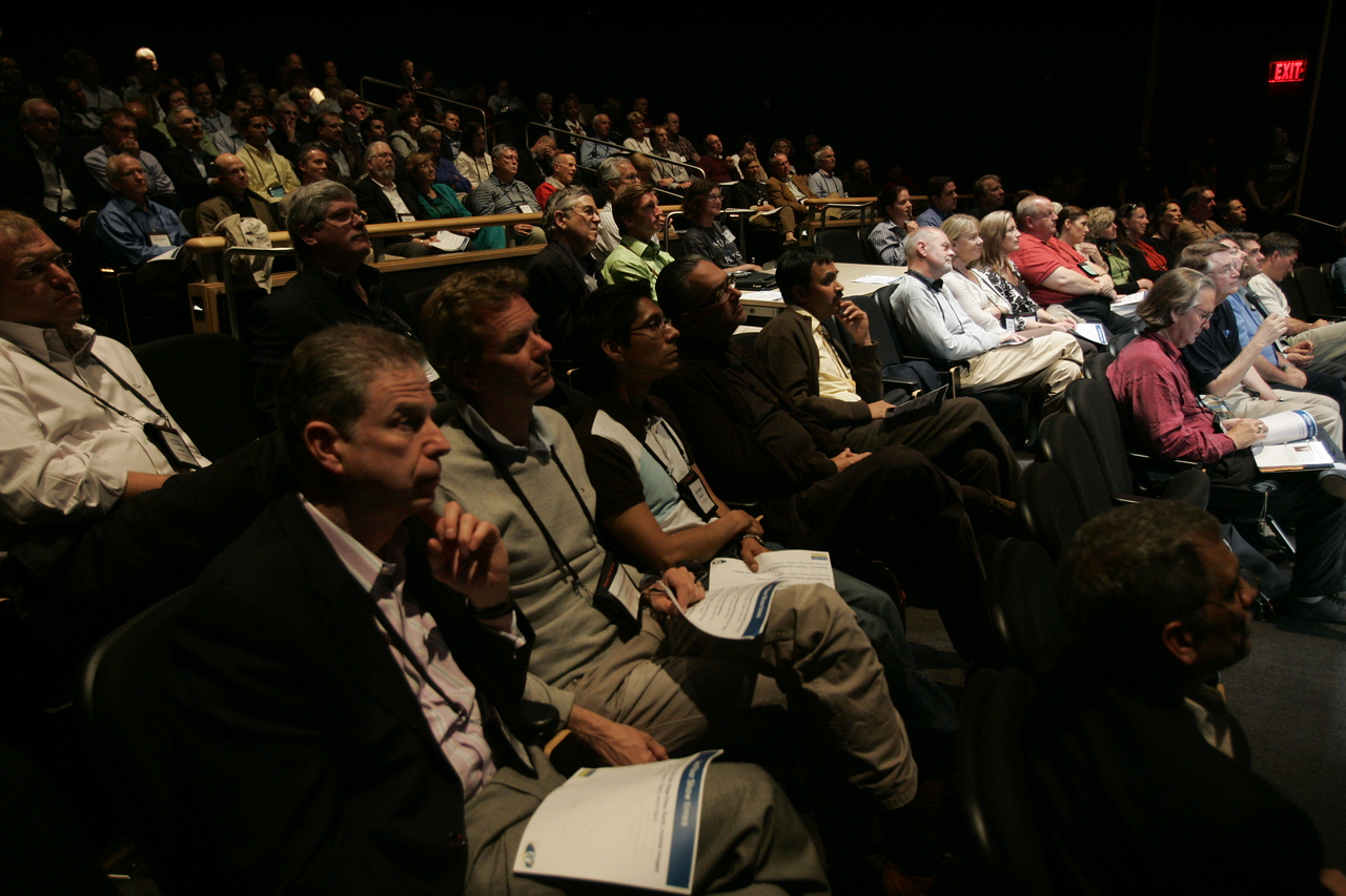 """Calit2 [the """"FiRe Lab""""], UCSD: OptiPortal Australia talks in realtime with FiRe participants in the Calit2 auditorium: [foreground, L-R] Martin Rutte, Thorgeir Einarsson, Alex Samano, Ricardo Salinas, and Chetan Sharma"""