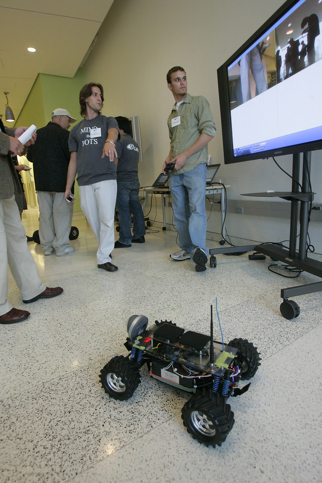 """The """"FiRe Lab"""" at Calit2: [L-R] Michael Pfeffer, David Brin, and two UCSD guys who definitely know their bots"""