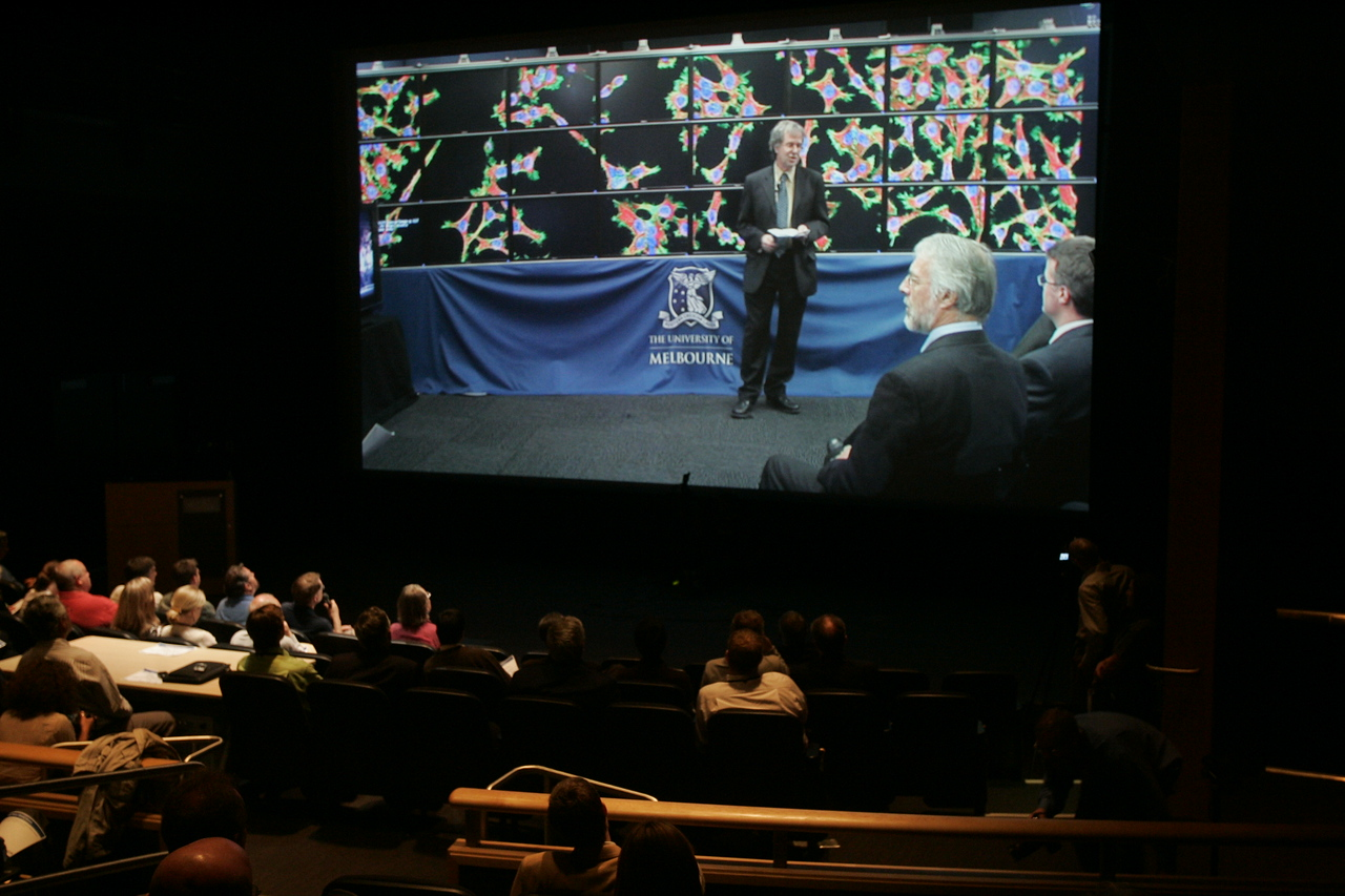 """Calit2 [the """"FiRe Lab""""], UCSD: OptiPortal Australia talks in realtime with FiRe participants in the Calit2 auditorium"""