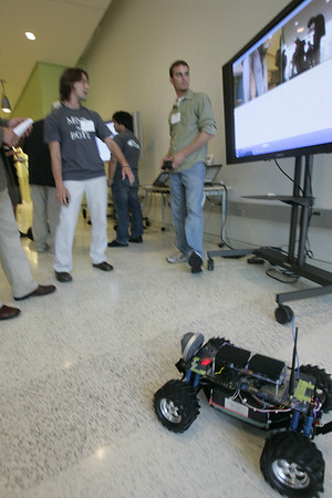 """Mind the Bots!"" Next-Generation Visualization and Networking Facilities, Calit2 (the ""FiRe Lab""), UCSD: roving Gizmo Wi-Fi robots"