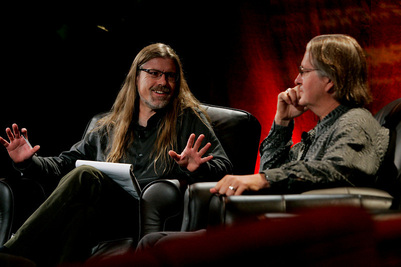 """Looking Further"": Sheldon Brown (L), New Media Arts, Calit2, UCSD, serves as host to science fiction author Bruce Sterling"