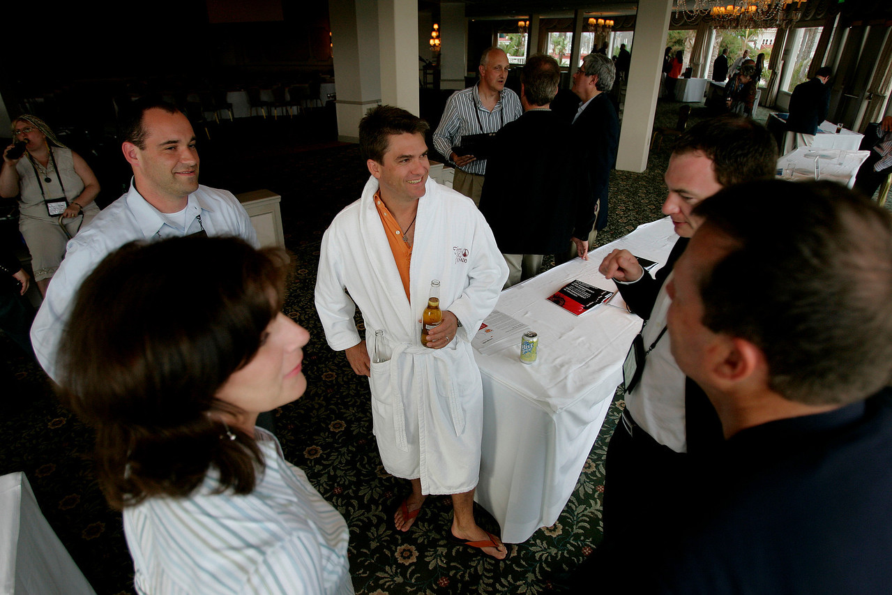 "How is FiRe different from other tech conferences? ""Meet the FiReStarters and Spotlight Company"": (L-R) Chenoa Farnsworth, Gustav Toppenberg, Michael Pfeffer (en route to the pool), and Mark Turrell"