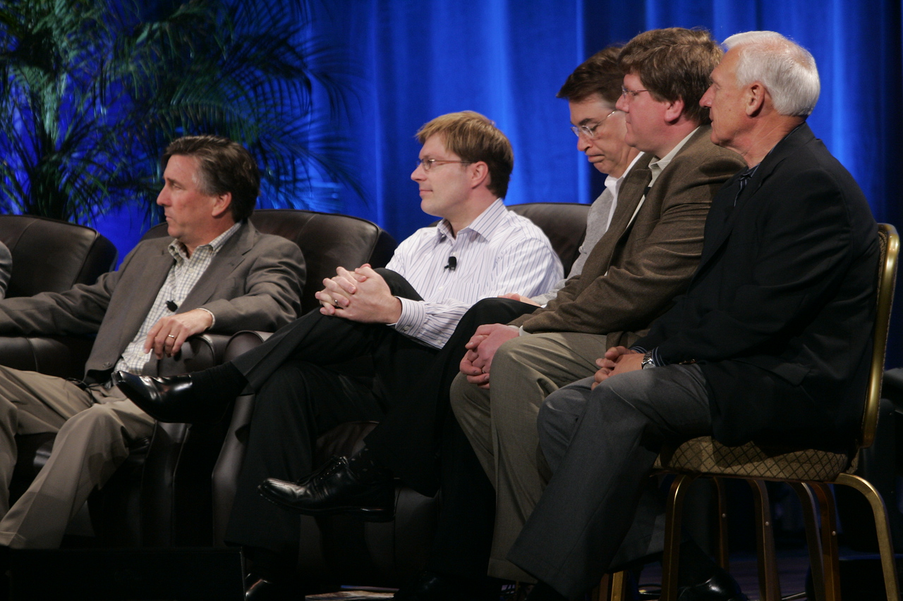"CTO Design Challenge: ""And the Solution Is--"": (L-R) Kevin Walter, Kelly Millsaps, Larry Smarr, Ty Carlson, and Ron Roberts"