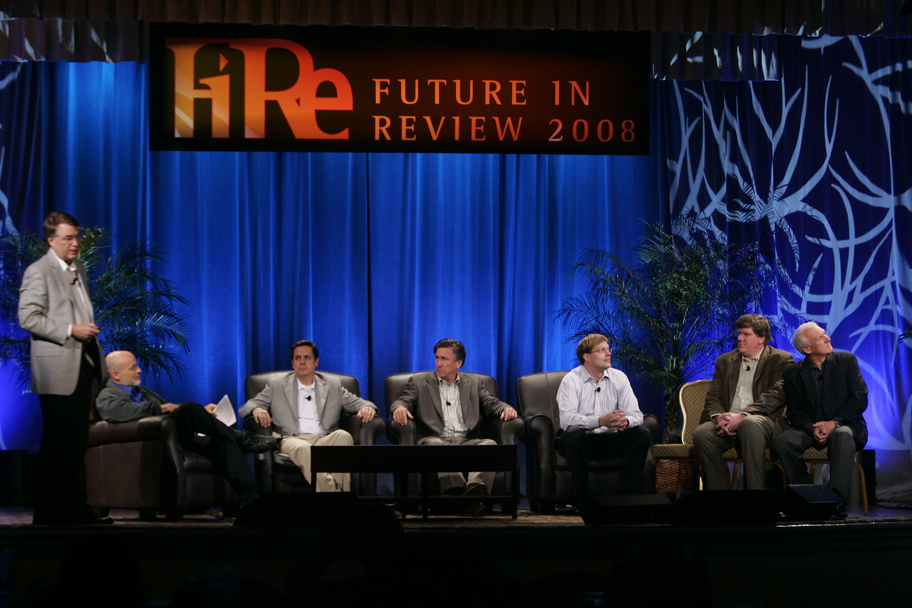 "CTO Design Challenge: ""And the Solution Is--"": (L-R) Host Larry Smarr, moderator David Brin, Brian Higbee, Kevin Walter, Kelly Millsaps, Ty Carlson, and Ron Roberts"