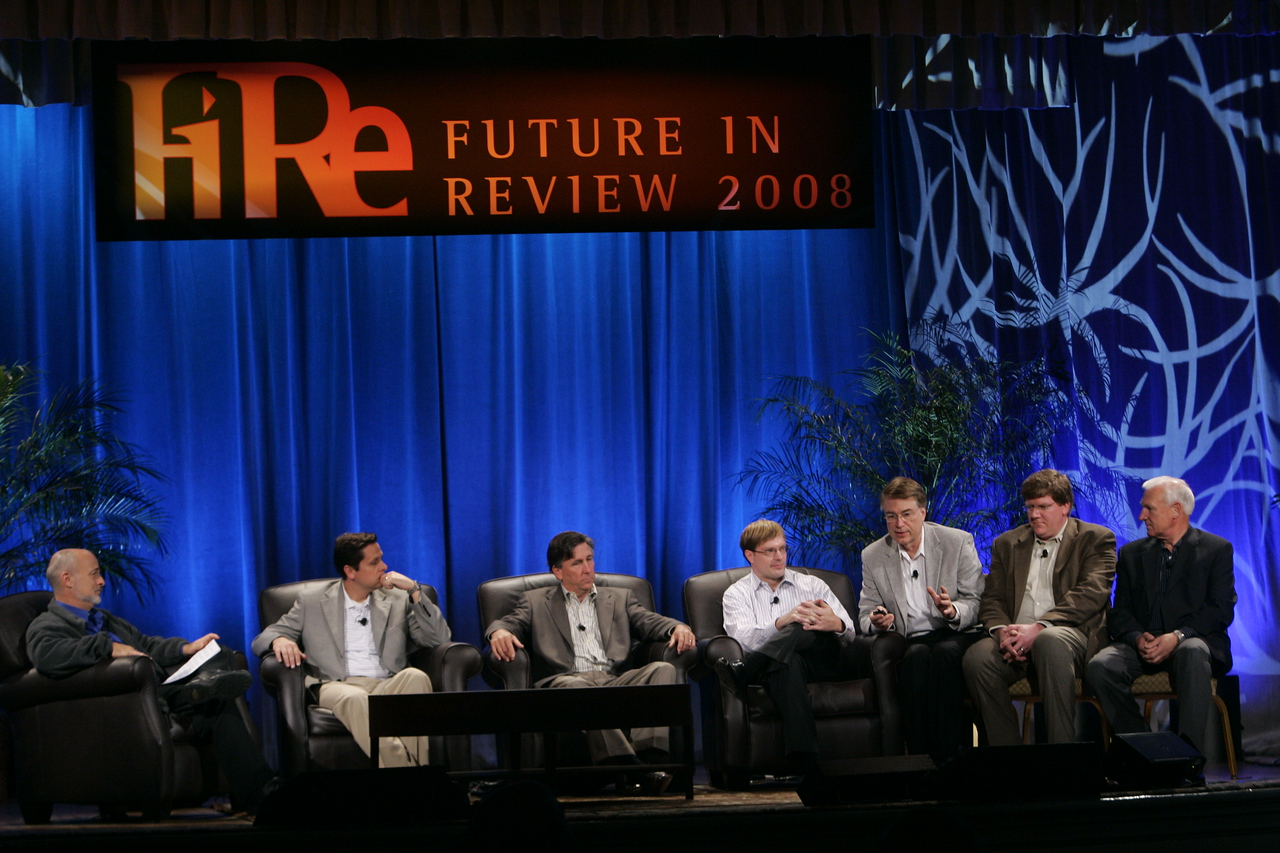 """CTO Design Challenge: """"And the Solution Is--"""": (L-R) Moderator David Brin, Brian Higbee, Kevin Walter, Kelly Millsaps, Larry Smarr, Ty Carlson, and Ron Roberts"""