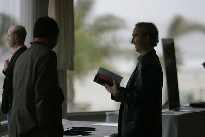 """Meet the FiReStarters and Spotlight Company"": (L-R) Max Chertoff, Morgan Stanley; Tom Krazit, CNET Networks; and Greg Ellis, SharpEnglish"