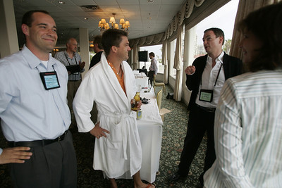 "How is FiRe different from other tech conferences? ""Meet the FiReStarters and Spotlight Company"": (L-R) Gustav Toppenberg, Michael Pfeffer (en route to the pool), Mark Turrell, and Chenoa Farnsworth"