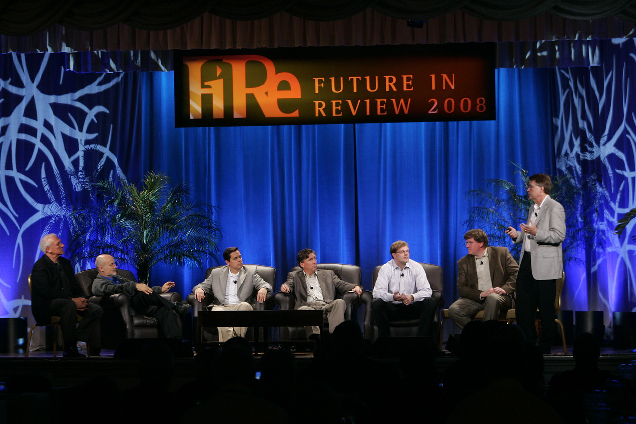 """CTO Design Challenge: """"And the Solution Is--"""": (L-R) Ron Roberts, David Brin, Brian Higbee, Kevin Walter, Kelly Millsaps, Ty Carlson, and Larry Smarr"""
