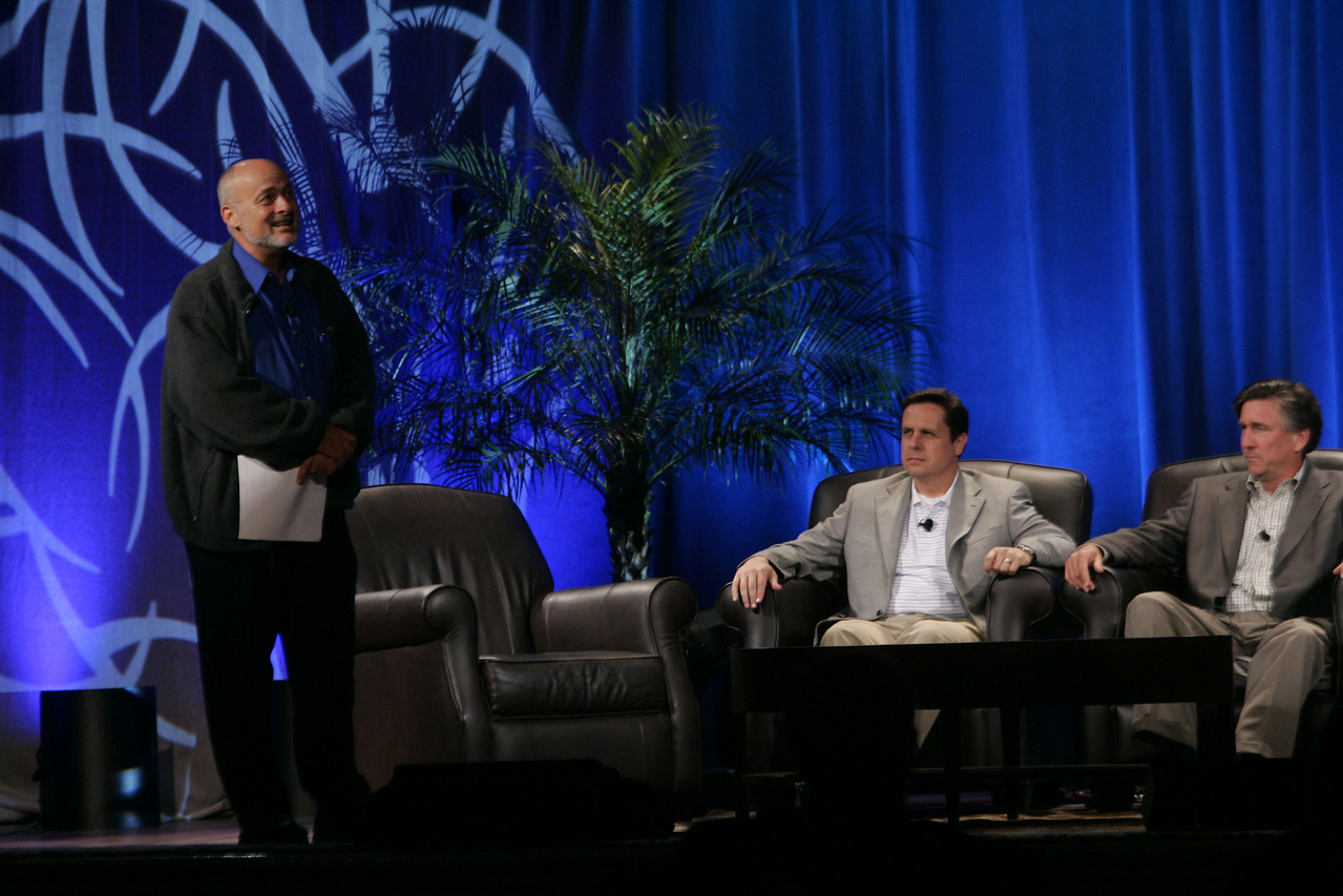 """CTO Design Challenge: """"And the Solution Is--"""": Moderator, author and physicist David Brin wraps up panel conclusions; seated are Brian Higbee and Kevin Walter"""