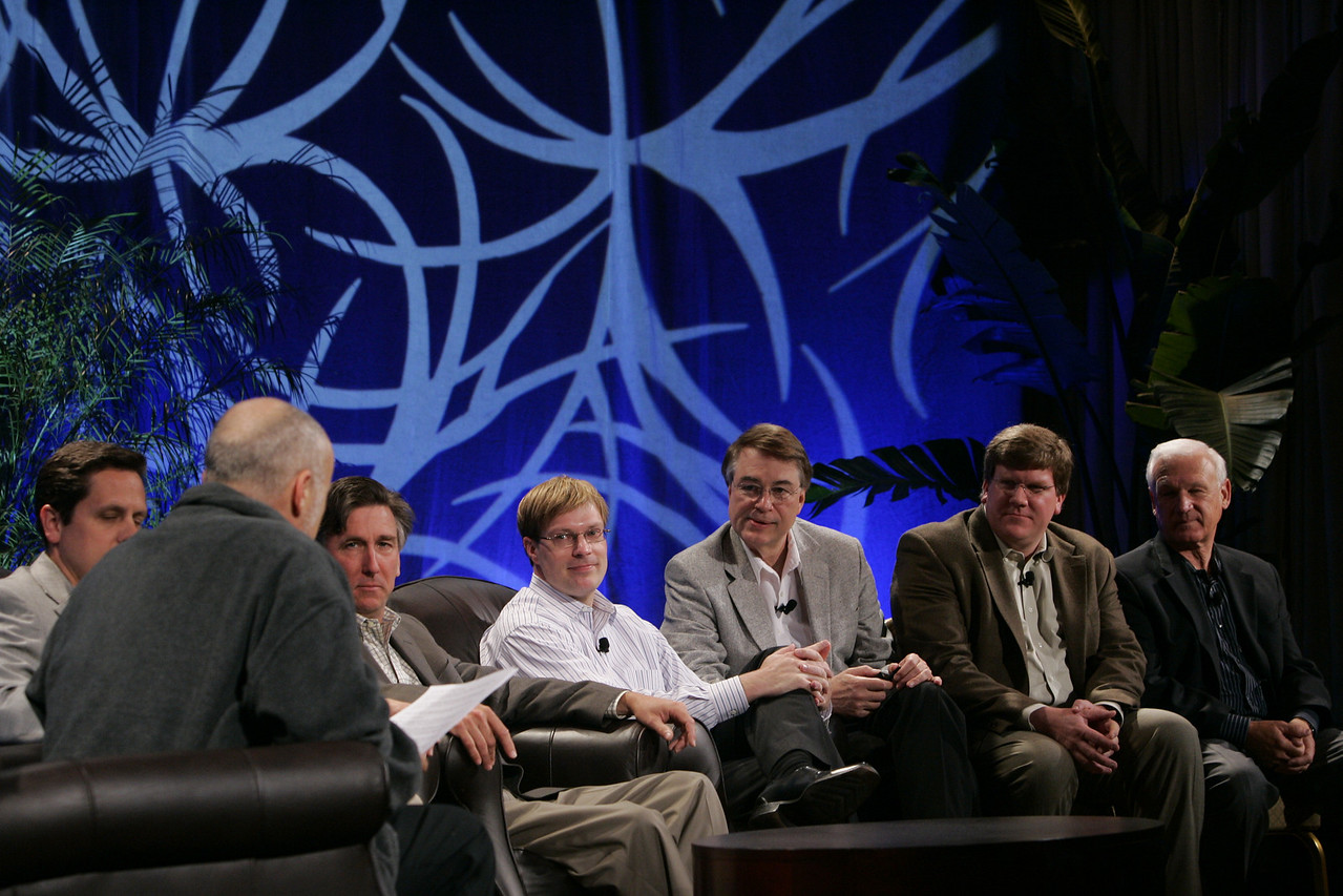 "CTO Design Challenge: ""And the Solution Is--"": (L-R) Moderator David Brin, Brian Higbee, Kevin Walter, Kelly Millsaps, Larry Smarr, Ty Carlson, and Ron Roberts"