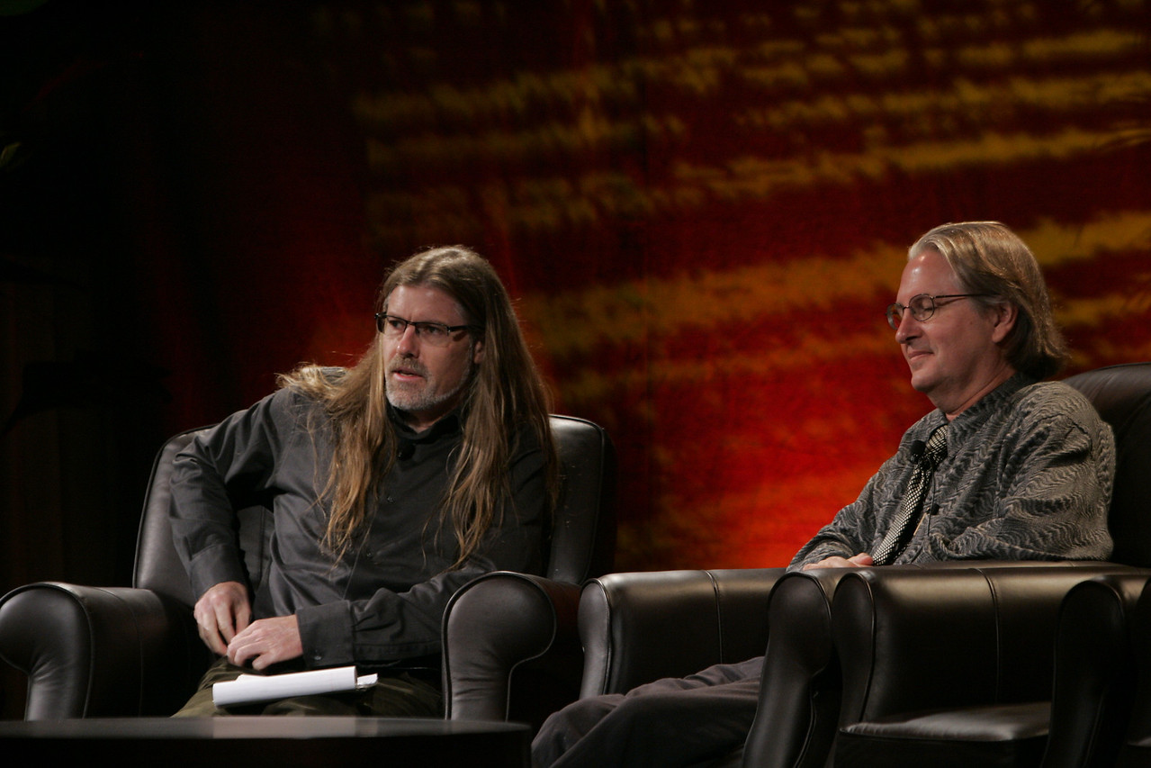 """Looking Further"": Host Sheldon Brown (L), Center for Research and Computing in the Arts, and head of New Media Arts, Calit2, UCSD, and award-winning science fiction author Bruce Sterling takes questions from attendees"