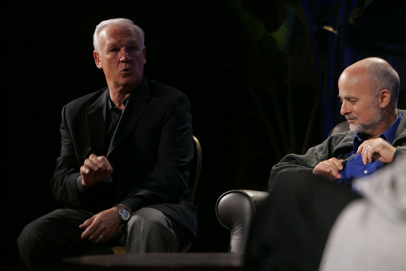 "CTO Design Challenge: ""And the Solution Is--"": Ron Roberts (L), Supervisor, San Diego County Board of Supervisors, and moderator David Brin, author and physicist"