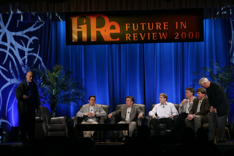 """CTO Design Challenge: """"And the Solution Is--"""": (L-R) David Brin, Brian Higbee, Kevin Walter, Kelly Millsaps, Larry Smarr, Ty Carlson, and Ron Roberts"""