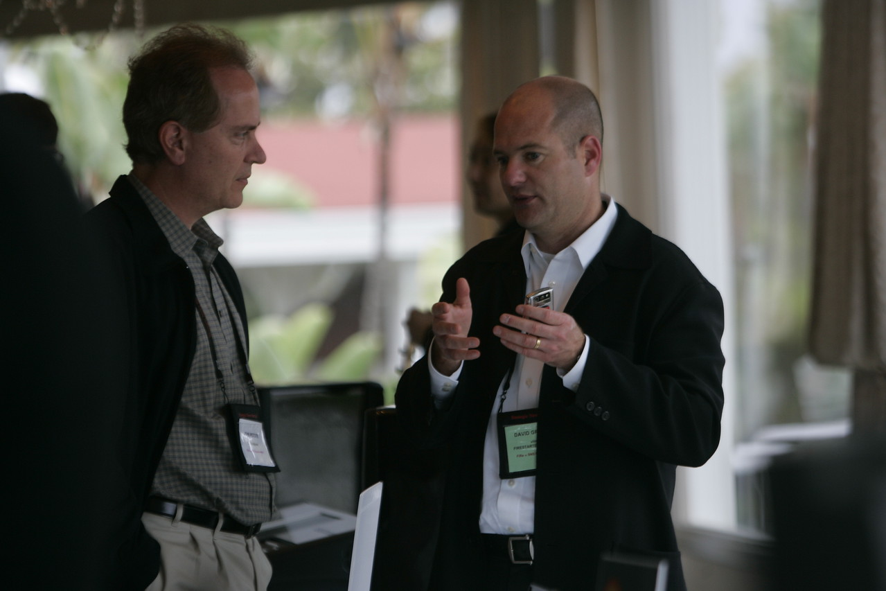 """Meet the FiReStarters and Spotlight Company"": John Petote (L), CEO and Founder, CIO Solutions, learns more about vlingo from President and CEO Dave Grannan"