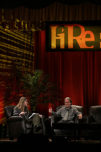 """Looking Further"": Host Sheldon Brown (L), Center for Research and Computing in the Arts, and head of New Media Arts, Calit2, UCSD, discusses scenarios of the future with award-winning science fiction author Bruce Sterling"