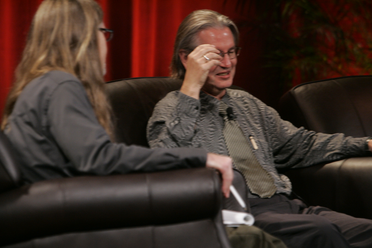 """Looking Further"": Host Sheldon Brown (L), Center for Research and Computing in the Arts, and head of New Media Arts, Calit2, UCSD, and award-winning science fiction author Bruce Sterling"