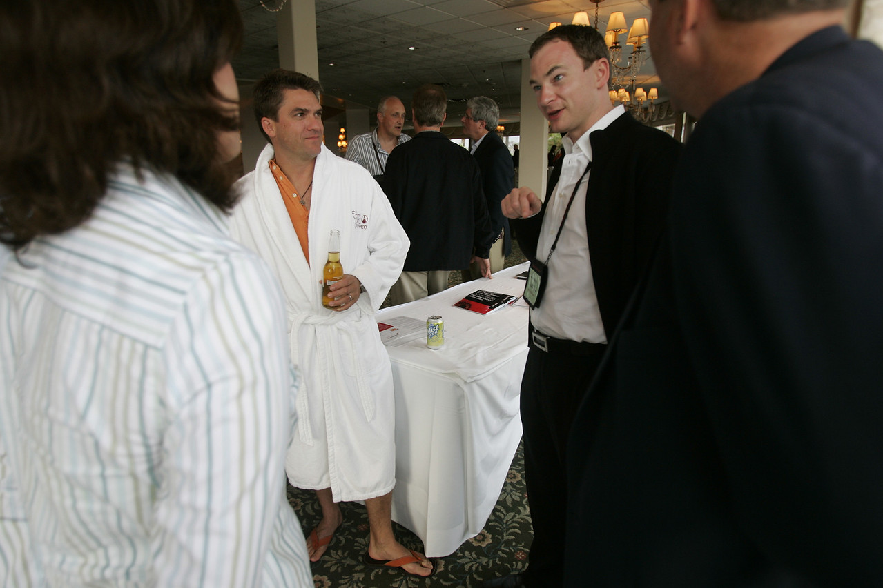"""How is FiRe different from other tech conferences? """"Meet the FiReStarters and Spotlight Company"""": (L-R) Chenoa Farnsworth, Michael Pfeffer (en route to the pool), and Mark Turrell"""