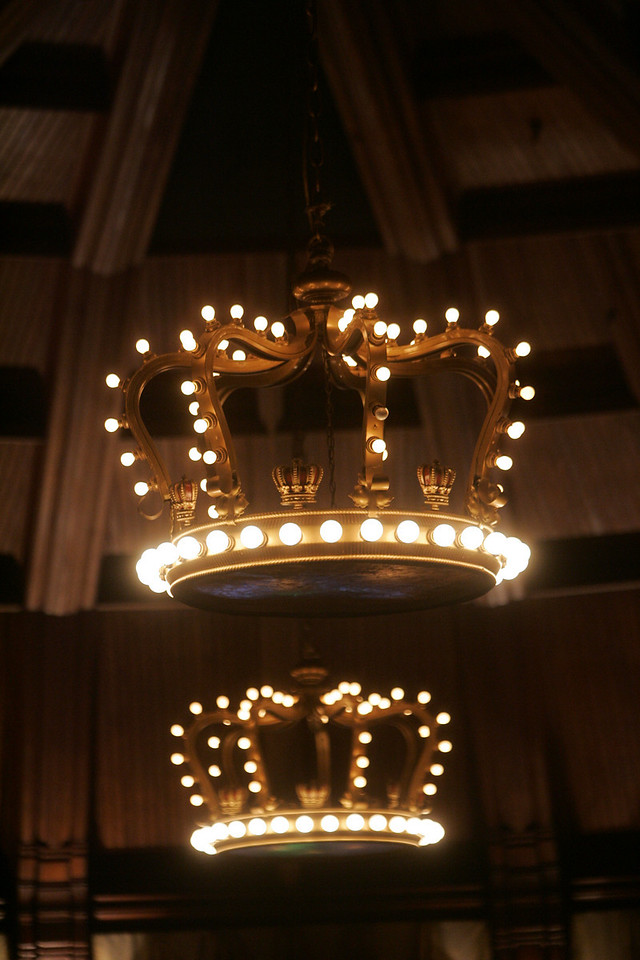 "The unique chandeliers of the Hotel del Coronado's Crown Room, designed by onetime guest Frank Baum, author of ""The Wizard of Oz"" series"
