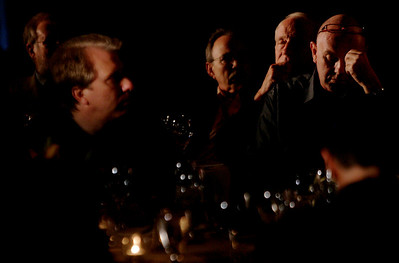 A ghostly, unretouched image from the Opening Night Dinner: (foreground, L-R) blogger Steve Broback; Bill Janeway, Warburg Pincus; Bill Budinger, The Rodel Foundations; and Steve Evans, BBC Worldwide