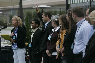 Sharon Anderson-Morris introduces the SNS/FiRe staff and interns: Debarshi Das, Matt Keller (hand raised), Sally Anderson, Berit Anderson, Lynne Mercer, Brent Morris, Gustav Toppenberg, and Kelly Webb