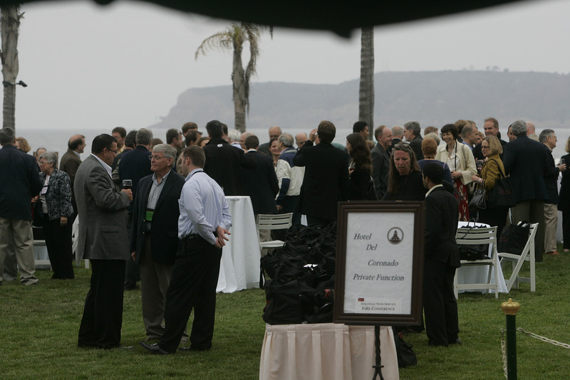 Opening Reception on the Windsor Lawn; in the misty background, the Cabrillo National Monument