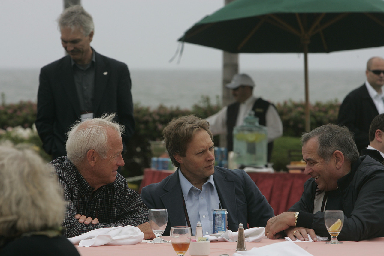 Lunch on the Windsor Lawn: (L-R) Bill Budinger, David Engle (background), Scott Wiedeman, and Hugh Bradlow