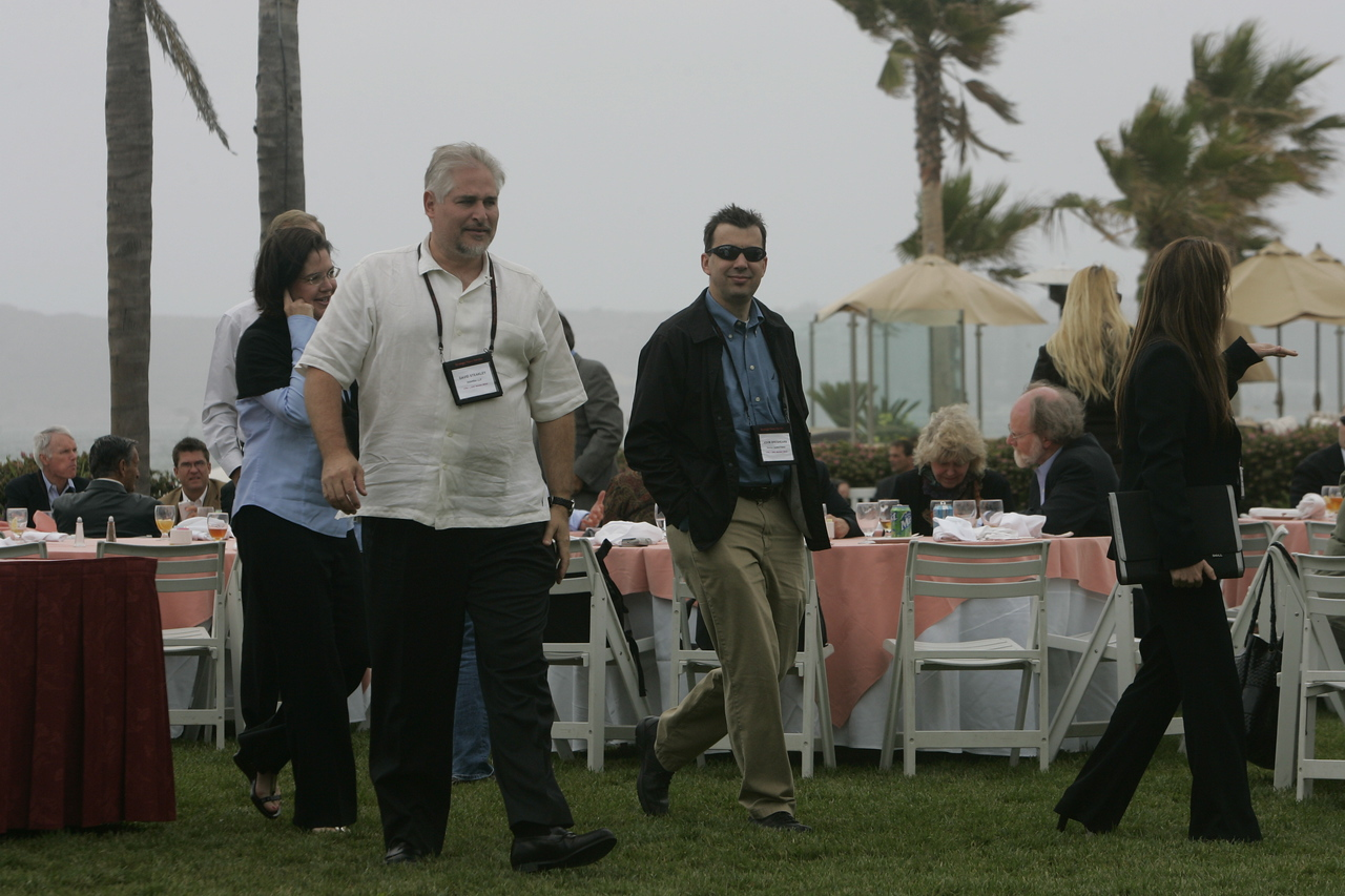 Lunch on the Windsor Lawn: (L-R, foreground) Paula and David Steakley, John Breshears, and Jeannette Hammock