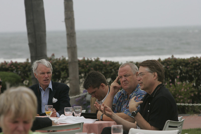 Lunch on the Windsor Lawn: (L-R, background) Bruce Conway, Michael Pfeffer, Bill Spencer, and Larry Smarr