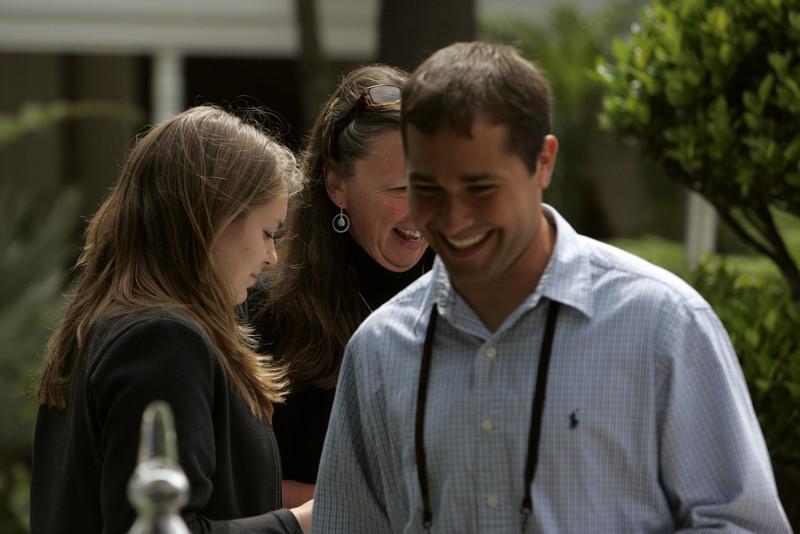 Breaktime: FiRe Staffer Berit Anderson (L), SNS Comptroller Lynne Mercer, and FiRe/Thunderbird intern Matthew Keller