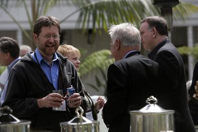 Thursday afternoon break: Mark Foster (L),  Partner at Zimmer, Gunsul, Frasca, has a laugh with Bruce Harned, President, MarketFit Associates