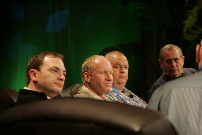 """FiReStarters I"": (L-R) Mark Turrell, Imaginatik; Tim Johnson, High Throughput Genomics; Bill Spencer, Hawaii Oceanic Technology; and Mike Gering, Global Solar Energy"