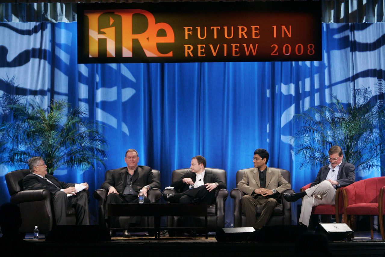 """Collaborative (Green) Innovation"": (L-R) Moderator Robert Anderson, Director, Technology Transfer and IP, Illinois Institute of Technology; Mark Atkins, Chair, President, and CEO, Invention Machine Corp.; Mark Turrell, CEO, Imaginatik; Prith Banerjee, Senior VP, Research, and Director, HP Labs, Hewlett-Packard; and Steve Di Biase, Senior VP and Chief Scientific Officer, JohnsonDiversey Inc."