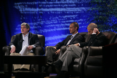 """Fixing Healthcare II: Using Technology to Empower the Consumer"": Moderator Doug Smith (L), Martin's Point Health Care; Roy Schoenberg, American Well Systems; and Peter Neupert, Health Solutions Group, Microsoft"