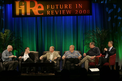 """FiReStarters I"": (L-R) Moderator Steve Evans, BBC; Mark Turrell, Imaginatik; Tim Johnson, High Throughput Genomics; Bill Spencer, Hawaii Oceanic Technology; Mike Gering, Global Solar Energy; and Roy Schoenberg, American Well Systems"