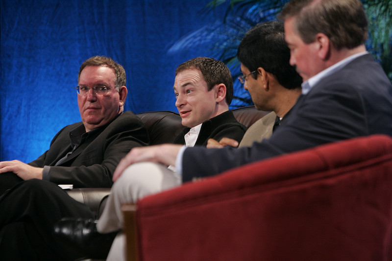 """Collaborative (Green) Innovation"": (L-R) Mark Atkins, Chair, President, and CEO, Invention Machine Corp.; Mark Turrell, CEO, Imaginatik; Prith Banerjee, Senior VP, Research, and Director, HP Labs, Hewlett-Packard; and Steve Di Biase, Senior VP and Chief Scientific Officer, JohnsonDiversey Inc."