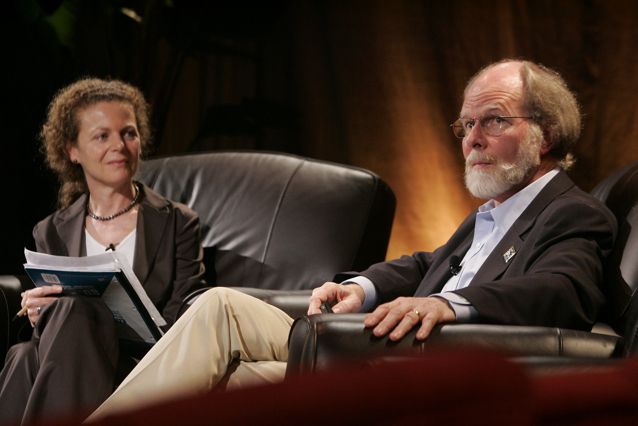 """An Urgent Need to Address Climate Change"": Host Cynthia Figge, co-founder, EKOS International, with guest James McCarthy, a leader of the Nobel Prize-winning Intergovernmental Panel on Climate Change and Harvard professor of Oceanography"