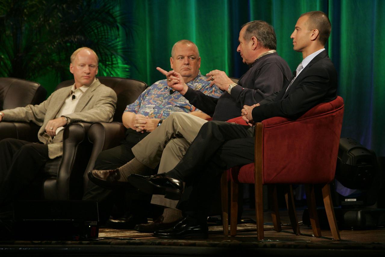 """FiReStarters I"": (L-R) Tim Johnson, High Throughput Genomics; Bill Spencer, Hawaii Oceanic Technology; Mike Gering, Global Solar Energy; and Roy Schoenberg, American Well Systems"