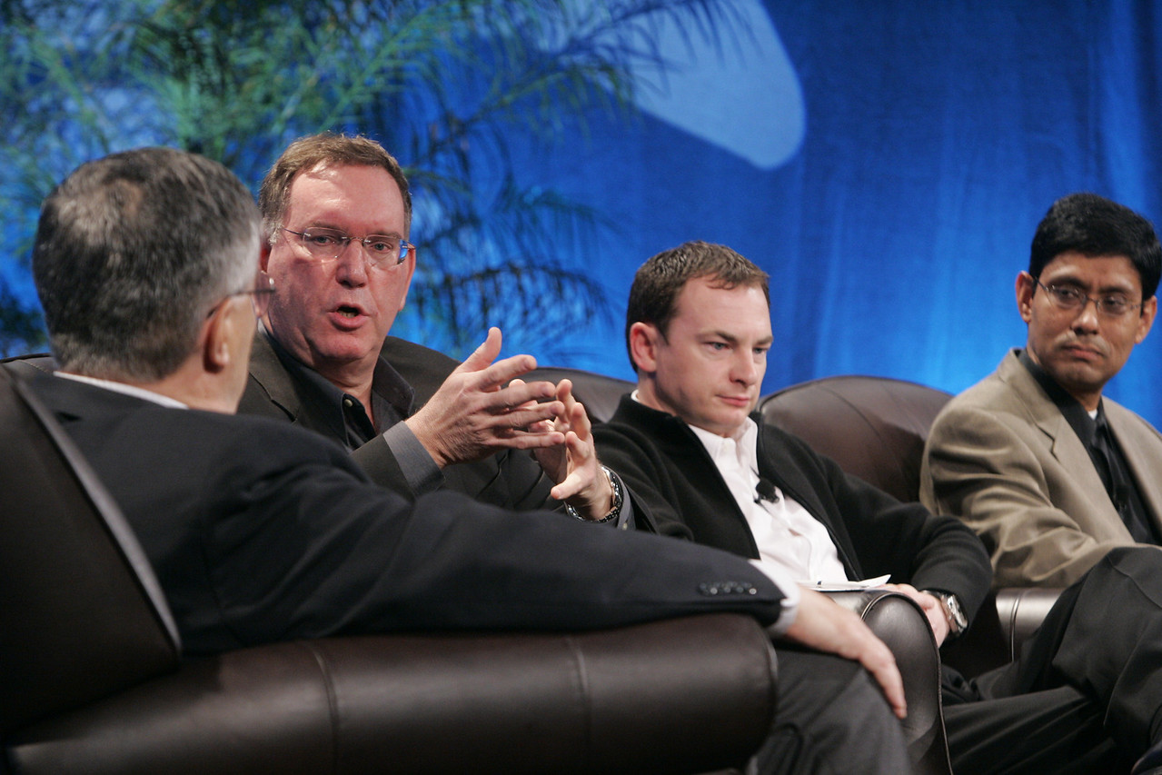 """Collaborative (Green) Innovation"": (L-R) Moderator Robert Anderson, Director, Technology Transfer and IP, Illinois Institute of Technology; Mark Atkins, Chair, President, and CEO, Invention Machine Corp.; Mark Turrell, CEO, Imaginatik; and Prith Banerjee, Senior VP, Research, and Director, HP Labs, Hewlett-Packard"