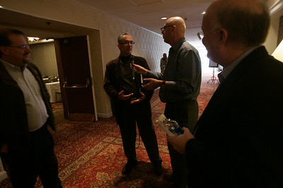 Interviews in the corridors: (L-R) Simon Hackett, Internode (Adelaide); Ricardo Salinas, Grupo Salinas (Mexico City); Steve Evans, BBC (London); and Don Jones, QUALCOMM (San Diego)