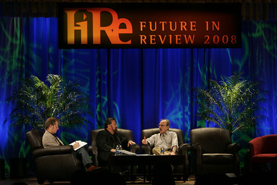 """The Global Economic Future: Should We Be Terrified?"": (L-R) Michael Copeland, senior writer, FORTUNE Magazine; Mark Anderson, CEO, Strategic News Service; and Bill Janeway, senior advisor, Warburg Pincus"